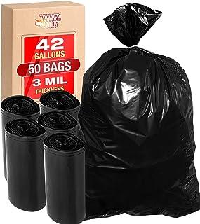 Tougher Goods 3 Mil 42 加仑(约 0.9 升)Contractor 垃圾袋 - 重型黑色垃圾袋 带捆扎带 适用于垃圾、存储、庭院作业,33 x 48 超厚塑料结构级塑料袋 - 来自 Tougher Goods 黑色 42G3MIL
