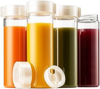Komax 果汁瓶 18.5盎司(约473毫升) | 4件套可重复使用的果汁和冰沙瓶 | 优质不含双酚A 塑料,防碎,防漏,冷藏和洗碗机适用 | 宽口果汁和冰沙容器