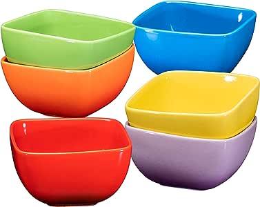 大号瓷制方形碗套装 - 66.04 毫升,适用于意大利面、麦片、汤和浆果 - 6 件套 Ombre Color