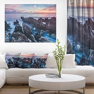 """Designart 西利海滩海岸的日出图案帆布印刷画 蓝色 40x30"""" PT10657-40-30"""