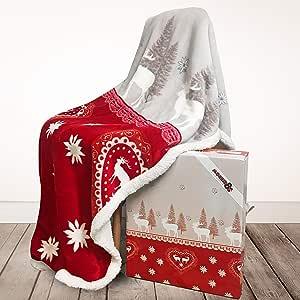 LAUNEN Tirol - 毛绒抱毯,舒适蓬松温暖,*柔软毛绒 - 超细纤维抱毯 - 天鹅绒羊毛 - 意大利风格 - 礼盒蝴蝶结 红色