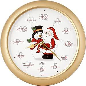 "JUSTIME Splendid 14 英寸 12 首 Carols of Carols of Christmas Warm Santa Claus & Snowman Melody 挂钟,扫秒静音石英,家居墙面装饰时钟 Ss Gold Dia. 14"" (36cm) D:2"" (5cm) TCXM54-SSR"