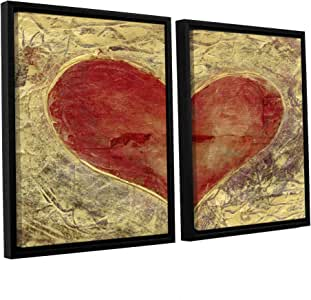 """Elana Ray's Red Heart of Gold 2 Piece Floater Framed Canvas Set, 32 x 48"""""""