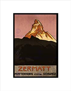 Art Stop TRAVEL MATTERHORN MOUNTAIN ZERMATT SWITZERLAND ALPINE SNOW 框架印画 B12X1622 印花 12x16 Inches B12X1622_UF
