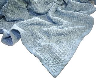 Zoog *棉天然染料优质 GOTS 认证非化学* * *棉柔软针织 78.74 厘米 x 101.6 厘米婴儿蓝色和粉色幼儿毯襁褓 蓝色