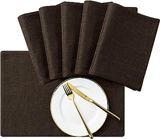 SyMax 织物餐垫耐热桌垫可水洗桌巾适用于餐厅、厨房、派对 咖啡色 6 PIECES