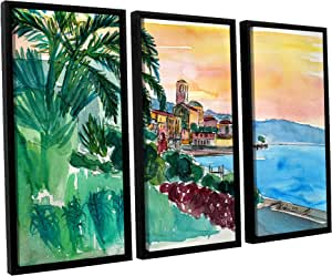 "Tremont Hill Marcus/Martina Bleichner""Wonderful Lago Maggiore Italy 2"" 3 件浮动加框油画套装 绿色 36X54"" 0ble198c3654f"