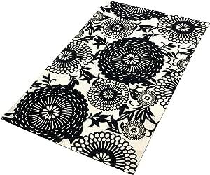 TreeWool,东方花朵图案棉质平织矩形地毯带防滑乳胶喷砂衬背(68.58 x 114.30 cm,天然)