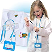 Lab Coat for Kids - 儿童实验室大衣,带可调眼镜和个性化 ID 卡。 科学项目和实验的完美玩具