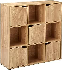 Home Basics 立方架天然木质储物架,带门、房间收纳器、衣服存储、家居装饰、书架、玩具收纳柜,适用于家庭和办公室橱柜 天然 9 Cube SS47888