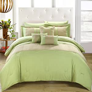 Chic Home Fiesta 10 件床上用品,袋盖被套装 绿色 Queen CS0861-603-AN
