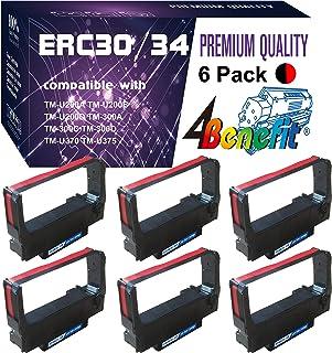 (6 件装,黑红色)4Benefit 兼容 Pos 丝带 Epson ERC 30/34/38 丝带 erc30br 适用于爱普生 M119 M119B M119D M133A M270 M17-JB M52-JB TM-U325 TM-U370 TM-U375 TM-200 TM-260 打印机