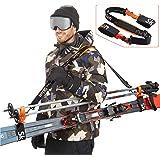 Sklon 滑雪背带和旗杆背带 | 避免争夺和轻松随处运输您的滑雪装备 | 配有加垫肩带 | 非常适合家庭 - 男士、女士和儿童 - 橙色