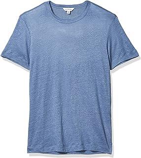 Club Monaco 男士短袖亚麻圆领衬衫