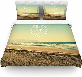 """Kess InHouse Robin Dickinson """"Take Me To The Sea""""蓝褐色单人棉质被套,172.72 x 223.52 厘米"""