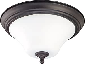 Nuvo Lighting 60/1926 Dupont 2-Light Large Flush Dome with Satin White Glass, Dark Chocolate Bronze 需配变压器