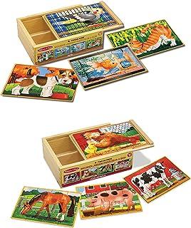 Melissa & Doug 美丽莎 盒装木制拼图游戏 宠物和农场盒拼图包
