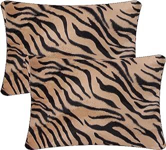 Queenie - 4 件人造毛皮抱枕套靠垫套适用于沙发枕套提供 5 种颜色和 6 种不同尺寸 孟加拉虎 14 x 20 inch (35 x 50 cm)