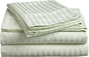 Impressions Genuine Egyptian Cotton 300 Thread Count, Full 4-Piece Bed Sheet Set, Deep Pocket, Single Ply, Sateen Stripe, Mint