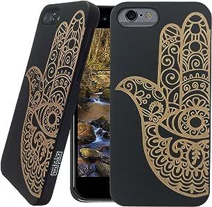 木质 iPhone 手机壳 - iPhone 6s Plus/iPhone 6 Plus 手机壳 - WDPKR 木质手机套 - 独特的高对比度黑色涂漆木壳保护配件 适用于苹果 iPhone 6s Plus / 6 Plusi6plus Hamsa Fatima Hand