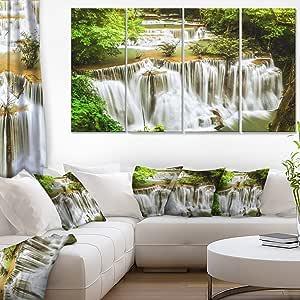 "Designart Erawan 瀑布景帆布摄影艺术墙照片艺术作品印刷品 48x28"" - 4 Equal Panels PT7126-271"