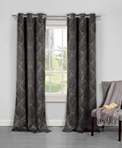 Duck River Textiles Phelan Black-Out Thermal Grommet Pair Panel, 74x84 黑色