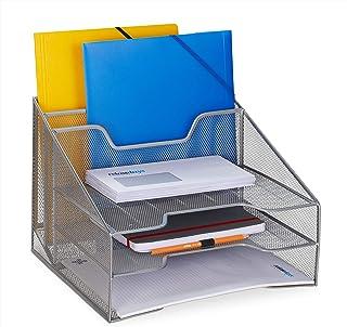 Relaxdays 文件柜,5 个隔层,DIN A4,文件支架和信架,金属,高 x 宽 x 深: 24 x 32 x 29 厘米,银色