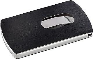 Sigel 名片卡盒 schwarz/silber Snap Lederoptik