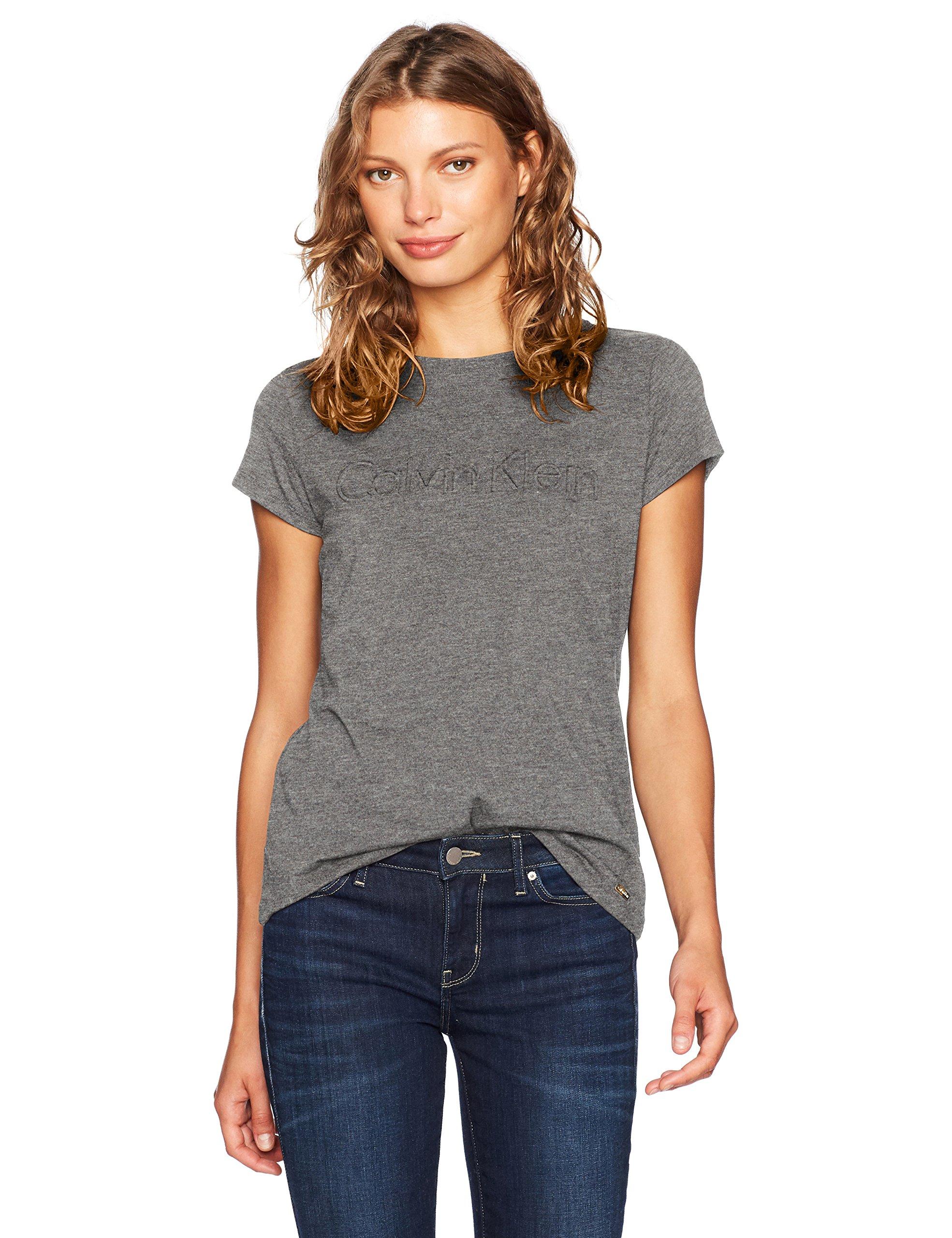 カルバンクラインの女性の半袖中央のマークが付いたTシャツ