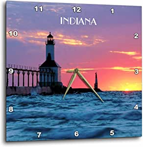 3dRose dpp_62523_2 Lighthouse at Michigan City Indiana-Wall Clock, 13 by 13-Inch