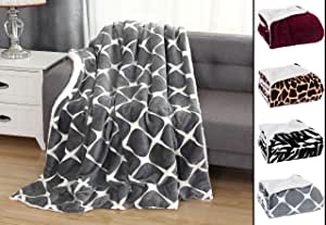 Elegant Comfort 奢华超毛绒天鹅绒触感羊毛抱毯柔软,温暖,舒适| Micromink 夏尔巴背衬双面毛毯适用于床、沙发和沙发,(50 x 60),Bloomingdale 灰色