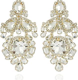 SP SOPHIA COLLECTION 女式閃亮宣言分層奧地利水晶維多利亞風格夾式耳環