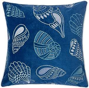 "Homey Cozy 贴花*蓝天鹅绒抱枕套,海洋蓝系列 B-seashell 20""x20"" 71156-BLUE"