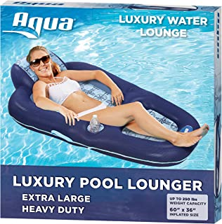 Aqua 超舒适泳池躺椅,带头枕 Navy/Light Blue - Luxury Water Lounge Navy/Light Blue - Luxury Water Lounge