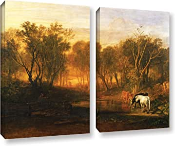 """ArtWall William Turner's the Forest of Bere 2 Piece Gallery Wrapped Canvas Set, 36"""" x 48"""""""