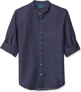 Perry Ellis 男士纯色亚麻卷袖条纹领衬衫