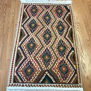 波西米亚风格土耳其基里姆图案印花地毯客厅走廊厨房 Van 2.6'x4'