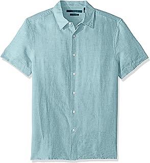 Perry Ellis 男式短袖純色亞麻棉襯衫