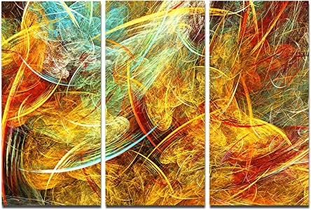 "黄色 Swirling Clouds Canva 摘要 黄色 36x28"" - 3 Panels PT8035-3P"