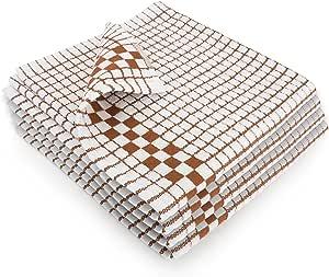Fecido 经典厨房洗碗巾 - 重型 - *吸收性 - * 纯棉 - 专业级洗碗布 - 欧洲制作茶巾 Brown - Checkered CDT-BROWN-4