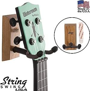 弦挥杆尤克里里里琴壁挂式粘合支架 适用于 Mandolin Ukele - 音乐会菠萝高音和巴尼兼容 - 家庭或工作室的保护套替代套件 - 樱桃硬木 CC62UK-C