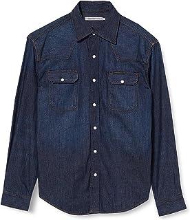 Calvin Klein Jeans 男士西部水洗靛蓝休闲衬衫