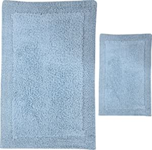 Castle Hill 2-Piece Reversible Bella Napoli Bath Rug, 17 by 24-Inch and 20 by 30-Inch, Light Blue