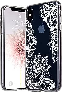 KEXAAR 透明手机壳,适用于 iPhone Xs Max(6.5 英寸),花朵图案设计柔软有弹性 TPU [防刮] 超薄【防震】透明花壳女孩可爱保护壳 LeFloral WH Max