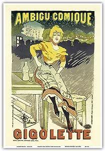 Pacifica 岛艺术 - 吉格莱特漫画剧 - 艾伯特·纪尧姆 1894 年复古广告海报 - 艺术大师印刷 13 x 19 in PRTC7068