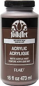 FolkArt 哑光亚克力涂料 多色 咖啡豆色 16盎司 6370