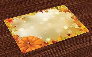 """午餐彩虹垫4件套,彩虹灵感垂直线图案光谱颜色抽象艺术调色板,可水洗织物餐具垫餐厅厨房桌饰,多色 Multi 22 12.5"""" L By 18.5"""" W ser_41557"""
