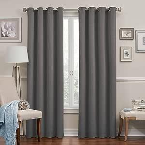 "Eclipse 11049052084GRE Round & Round Blackout Window Curtain Panel, Grey, 84"" Grey 52x84"