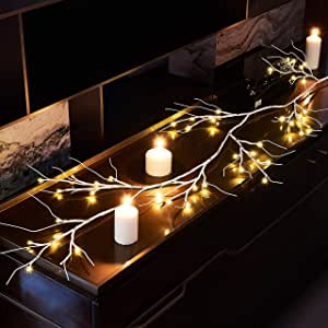Hairui Garland Lights 6FT 48L 电池供电,带计时器,适合室内室外使用 白色桦木 6ft