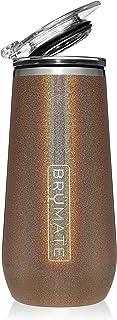 BrüMate 12 盎司保温香槟杯带饮料盖子 – 采用真空绝缘不锈钢制成 闪光金色 CF12GG